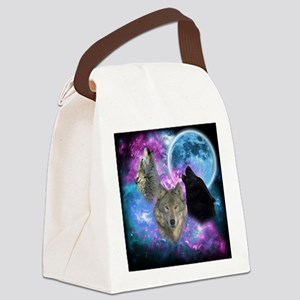 Wolves Mystical Night Canvas Lunch Bag