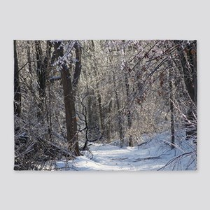 Icy Snow Trail 5'x7'Area Rug