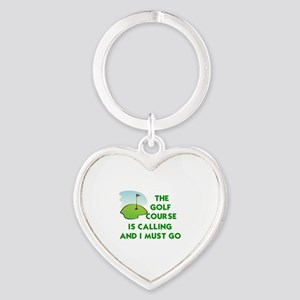 THE GOLF COURSE IS CALLING AND I MU Heart Keychain
