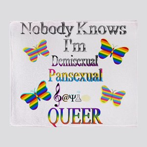 Nobody Knows I'm Demi Sapio Pansexua Throw Blanket