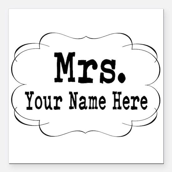 "Wedding Mrs. Square Car Magnet 3"" x 3"""