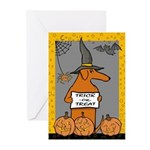 Red Dox Witch Trick or Treat Greeting Cards (Pk of