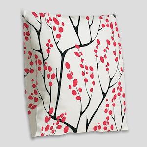 Cherry Tree Burlap Throw Pillow