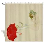Vintage Mermaid Red Umbrella Shower Curtain