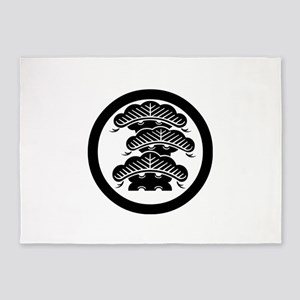 3Fpine with arashi in circle 5'x7'Area Rug