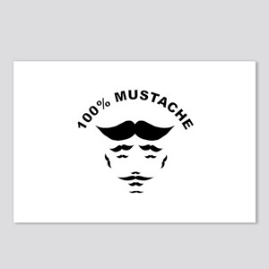 100% Mustache With Text Postcards (Package of 8)