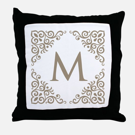 Monogram M Personalized Vintage Throw Pillow