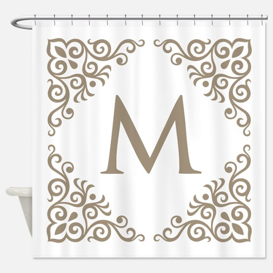 Monogram Vintage Look Shower Curtain