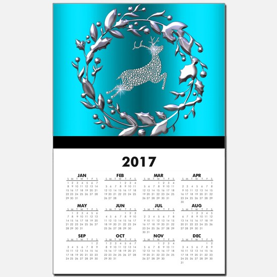 Silver Christmas Reindeer on Teal Calendar Print