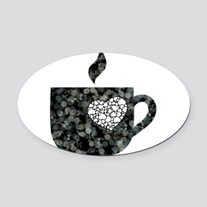 Cuppa Love Oval Car Magnet