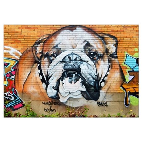 Beau STREET ART BULLDOG ANIMAL PRINT Wall Decal