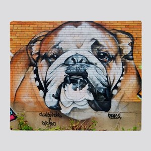 STREET ART BULLDOG ANIMAL PRINT Throw Blanket