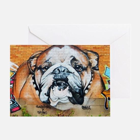 STREET ART BULLDOG ANIMAL PRINT Greeting Card
