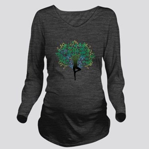 Yoga Tree Pose New Long Sleeve Maternity T-Shirt