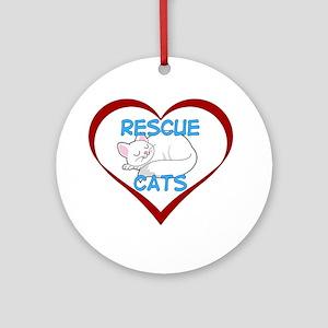 IHeart Rescue Cats Round Ornament