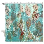 Rustic Modern Turquoise Fall Leaves Shower Curtain