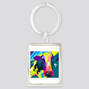 Pop Art Cow Animal Print Keychains