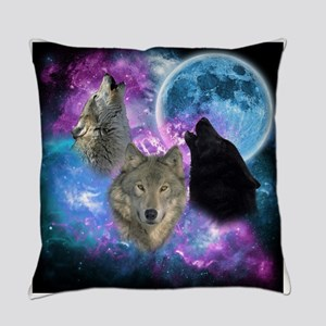 Wolves Mystical Night Everyday Pillow