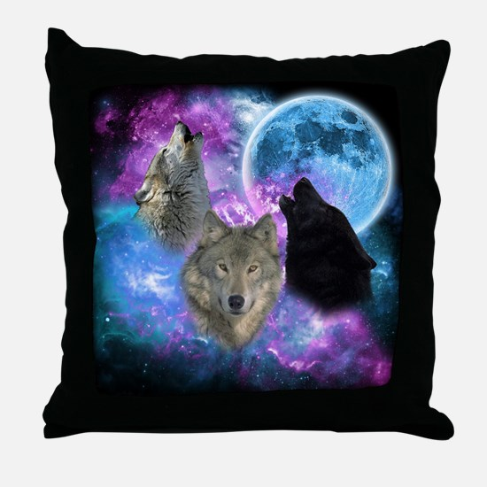 Wolves Mystical Night Throw Pillow