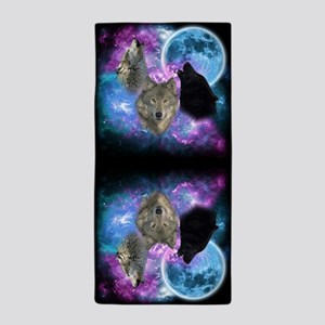 Wolves Mystical Night Beach Towel