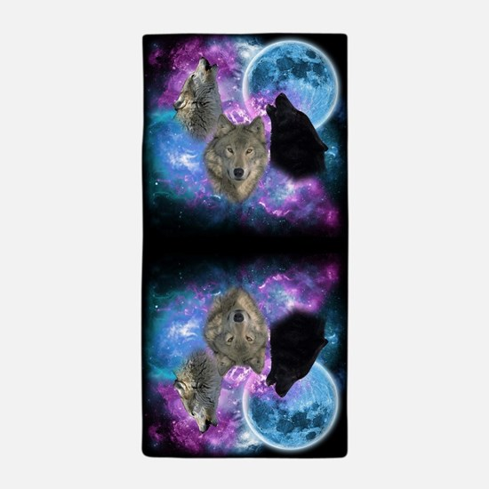 Wolves Mystical Night Beach Towel