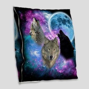 Wolves Mystical Night Burlap Throw Pillow