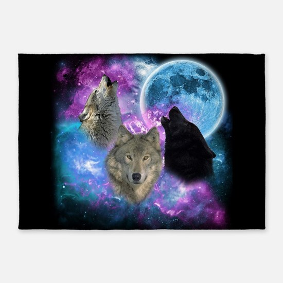 Wolves Mystical Night 5'x7'Area Rug