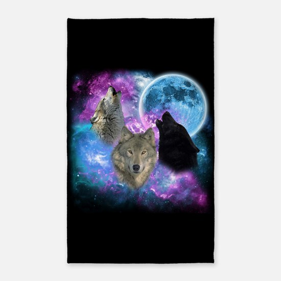 Wolves Mystical Night Area Rug