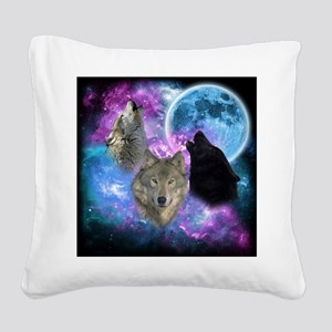 Wolves Mystical Night Square Canvas Pillow