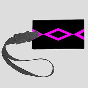 Black Hot Pink Geo Design Luggage Tag