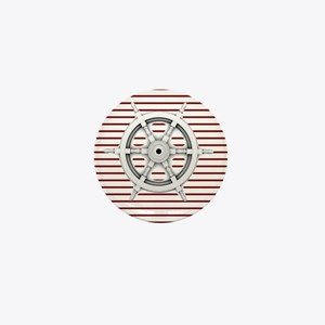 red stripes ship wheel nautical Mini Button