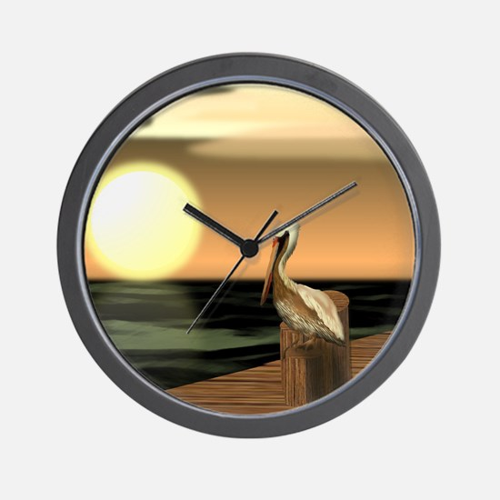 Cute Brown pelican Wall Clock