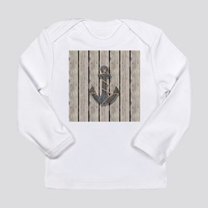 shabby chic wood blue anchor Long Sleeve T-Shirt
