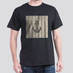 shabby chic wood blue anchor T-Shirt