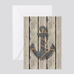 shabby chic wood blue anchor Greeting Cards