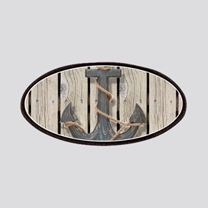 shabby chic wood blue anchor Patch