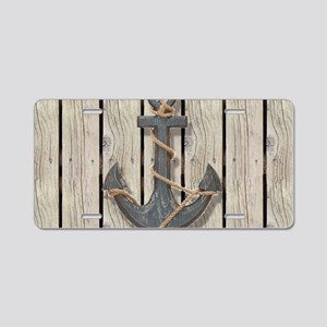 shabby chic wood blue ancho Aluminum License Plate