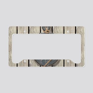 shabby chic wood blue anchor License Plate Holder