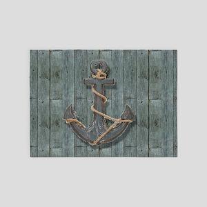 teal drift wood anchor 5'x7'Area Rug