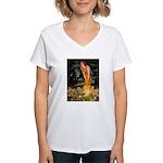 Midsummer / Yorkie Women's V-Neck T-Shirt