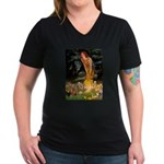 Midsummer / Yorkie Women's V-Neck Dark T-Shirt