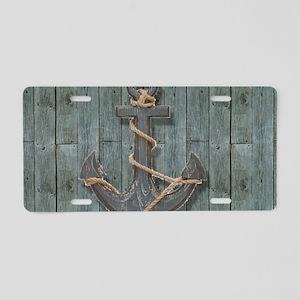 teal drift wood anchor Aluminum License Plate