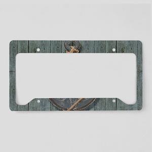 teal drift wood anchor License Plate Holder