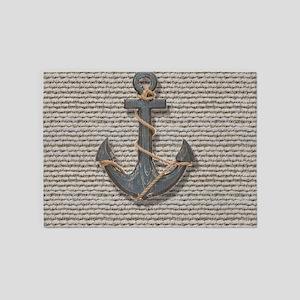 shabby chic anchor burlap 5'x7'Area Rug
