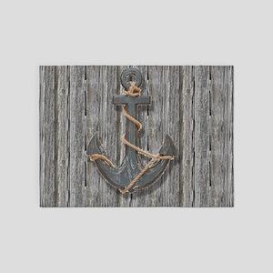 nautical anchor barn wood 5'x7'Area Rug