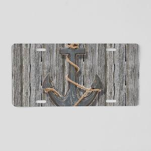 nautical anchor barn wood Aluminum License Plate