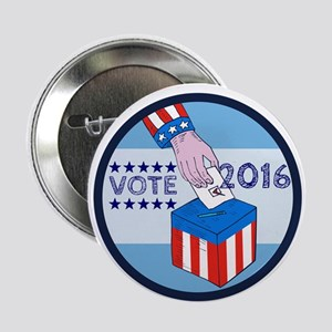 "Vote 2016 Hand Ballot Box Circle Etching 2.25"" But"