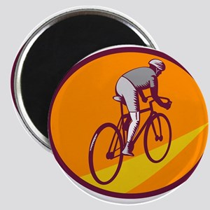 Cyclist Riding Bicycle Cycling Oval Woodcut Magnet