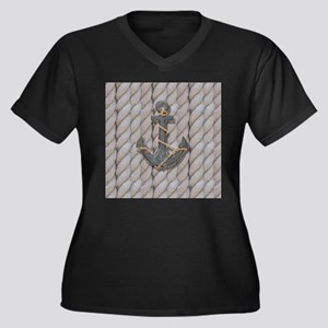 rustic anchor nautical rope Plus Size T-Shirt