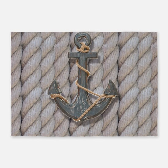 rustic anchor nautical rope 5'x7'Area Rug
